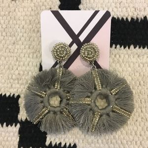 New Gray circle fringe beaded jeweled earrings